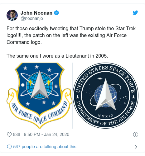 Twitter post by @noonanjo: For those excitedly tweeting that Trump stole the Star Trek logo!!!!, the patch on the left was the existing Air Force Command logo. The same one I wore as a Lieutenant in 2005.
