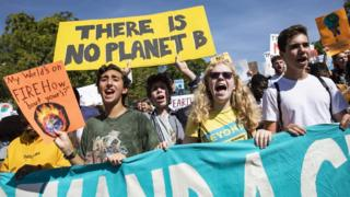 Young activists protest in Washington calling for action on climate change