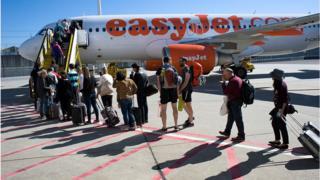 People boarding a plane