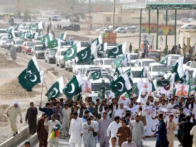Protesters stage a rally in Chaman against Indian premier's remarks on Balochistan