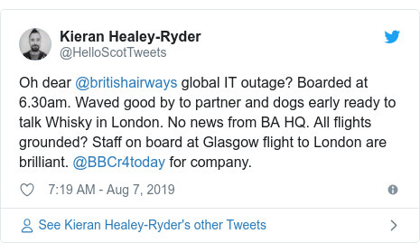 Twitter post by @CloudwaterPaul: A later flight, BA1391 (due to depart at 12 10) is showing as cancelled. It's not looking good.