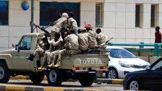 Sudanese security forces on a military vehicle on June 6, 2019 in Khartoum