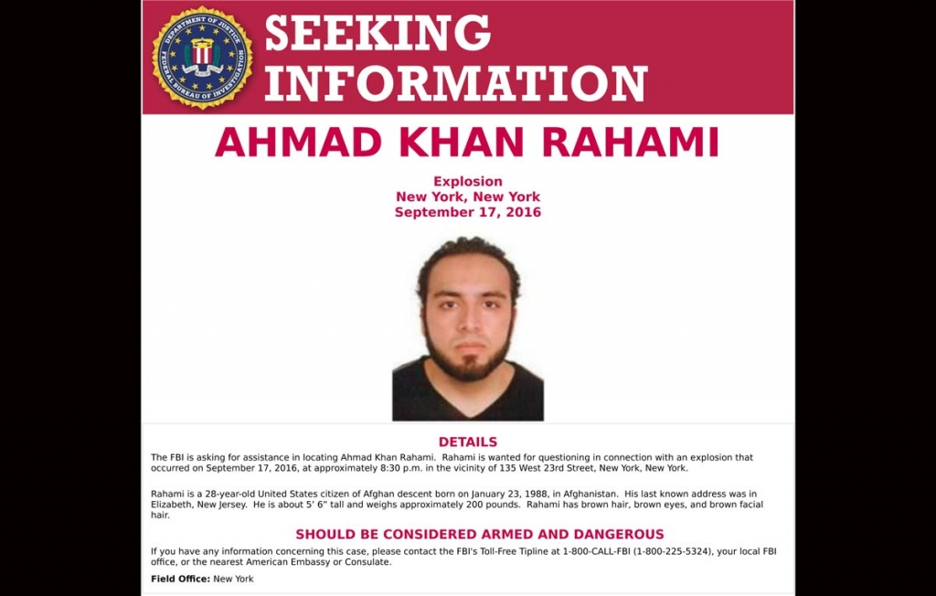 This poster provided by the FBI shows Ahmad Khan Rahami wanted for questioning Monday Sept. 19 2016 in bombings that rocked a Manhattan neighborhood and a New Jersey shore town