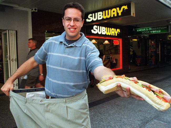 Jared Fogle, convicted paedophile, claimed he lost 100kg in weight after eating Subway sandwiches for a year. Picture: Supplied