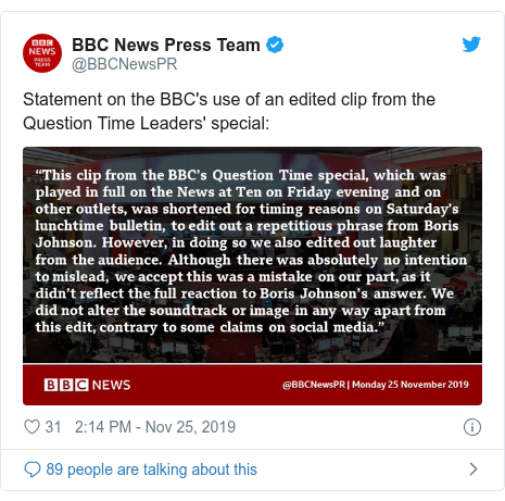 Twitter post by @BBCNewsPR: Statement on the BBC's use of an edited clip from the Question Time Leaders' special