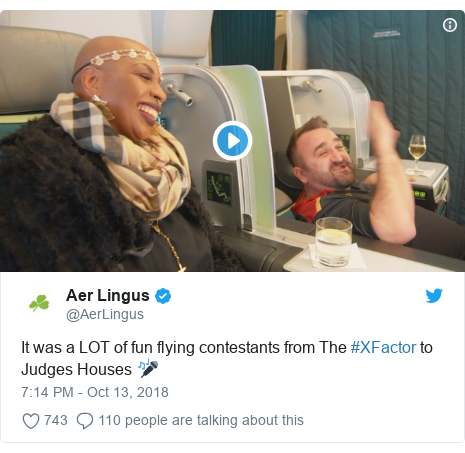 Twitter post by @pmcgphotos: So, I just happened to be on this flight...When the cameras were switched off, the contestants were all sent back to economy with the rest of us. So much for that Aer Lingus hospitality 😂