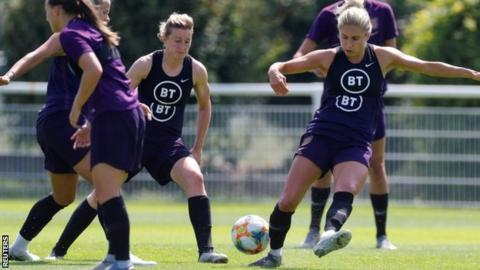 Steph Houghton took part in training on Wednesday