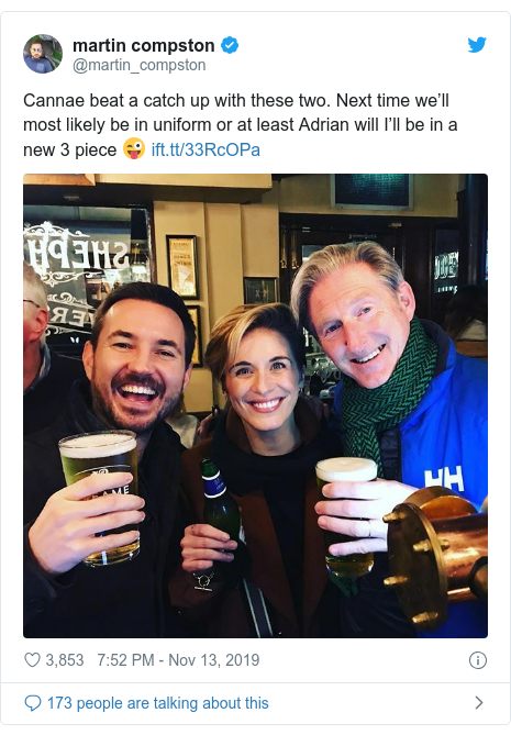 Twitter post by @martin_compston: Cannae beat a catch up with these two. Next time we'll most likely be in uniform or at least Adrian will I'll be in a new 3 piece ?