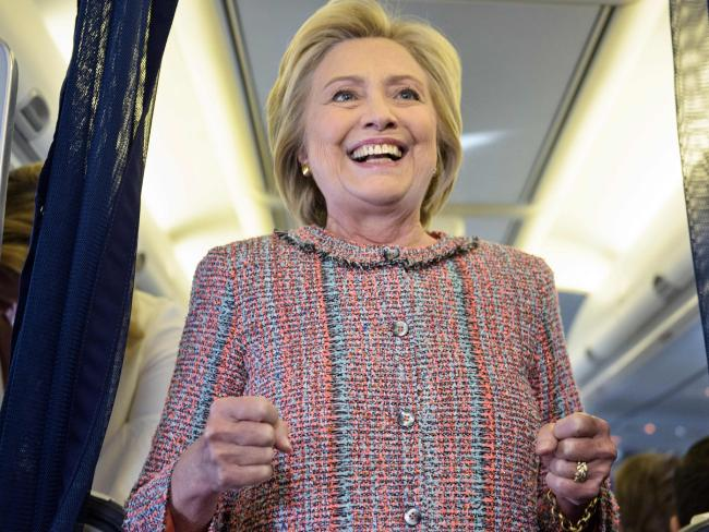 US Democratic presidential nominee Hillary Clinton speaks on her plane as she returns to campaigning after her bout with pneumonia. Picture: AFP
