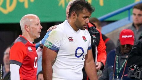 England number eight Billy Vunipola walks off against South Africa after suffering an arm injury