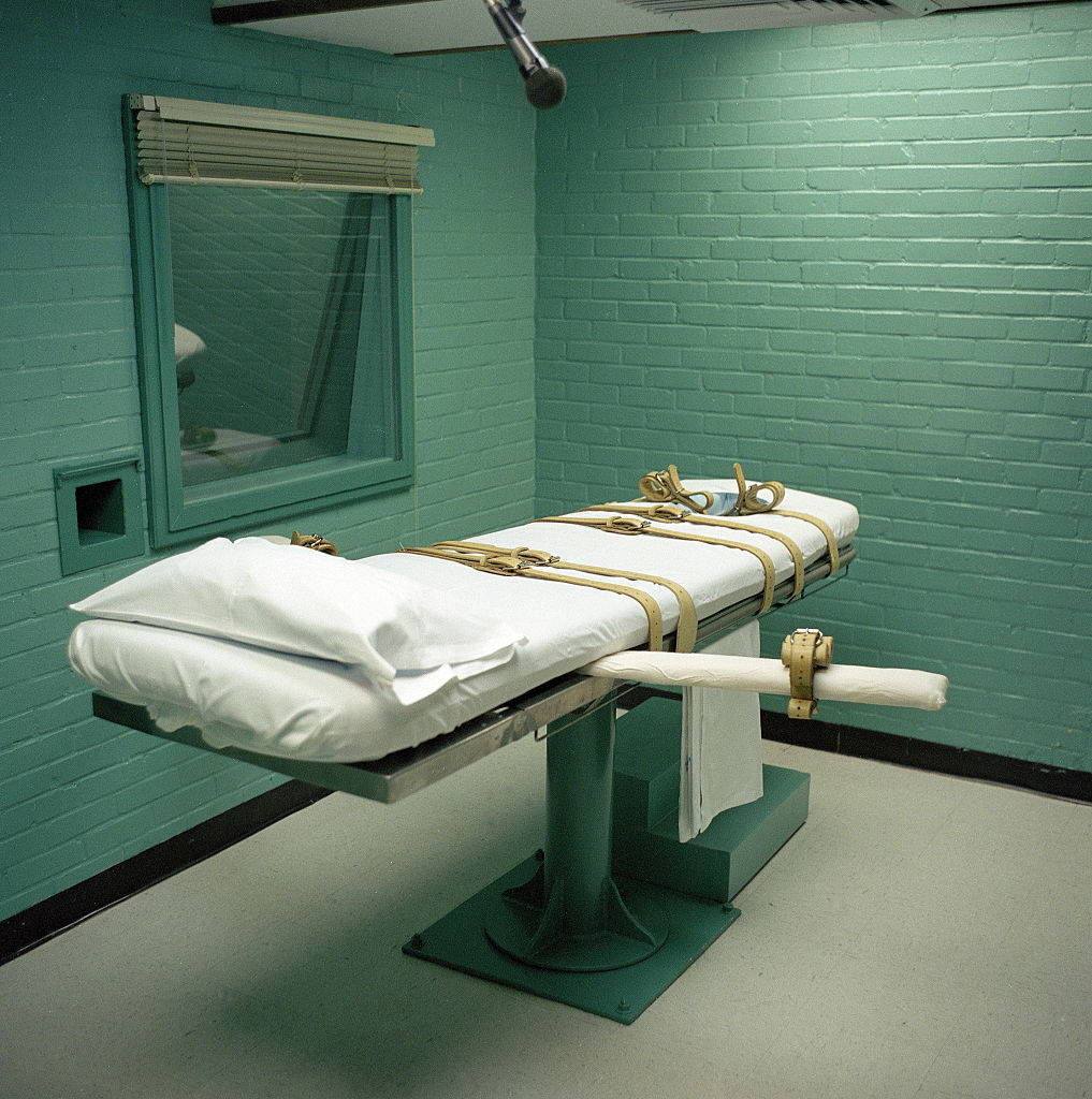Execution bed in a death chamber in Texas, USA