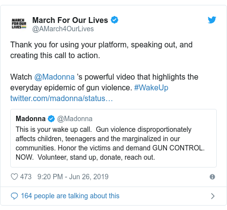 Twitter post by @GeorgeTakei: Thank you @Madonna for supporting @1Pulse4America. You are a much welcome voice in the battle for #GunViolencePrevention and #GunControl.