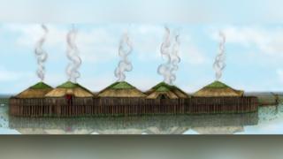 Illustrated reconstruction of Must Farm stilt houses