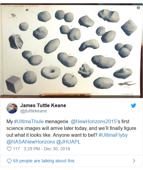 Twitter post by @jtuttlekeane: My #UltimaThule menagerie. @NewHorizons2015's first science images will arrive later today, and we'll finally figure out what it looks like. Anyone want to bet? #UltimaFlyby @NASANewHorizons @JHUAPL