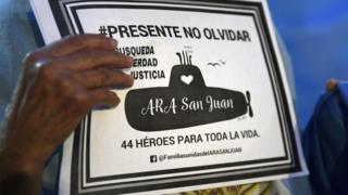 A relative of one of those lost on the ARA San Juan submarine on a march in Buenos Aires, Argentina, on May 15, 2018, six months after it went missing
