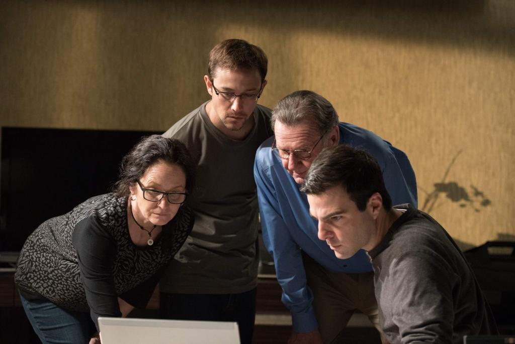 From left Melissa Leo Joseph Gordon-Levitt Tom Wilkinson and Zachary Quinto star in'Snowden. JURGEN OLCZYK  OPEN ROAD FILMS