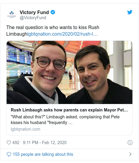 Twitter post by @VictoryFund: The real question is who wants to kiss Rush Limbaugh