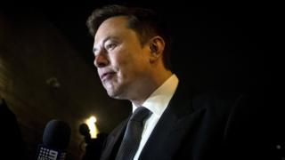 Tesla and SpaceX CEO Elon Musk leaves after the first day of a trial against British diver Vernon Unsworth