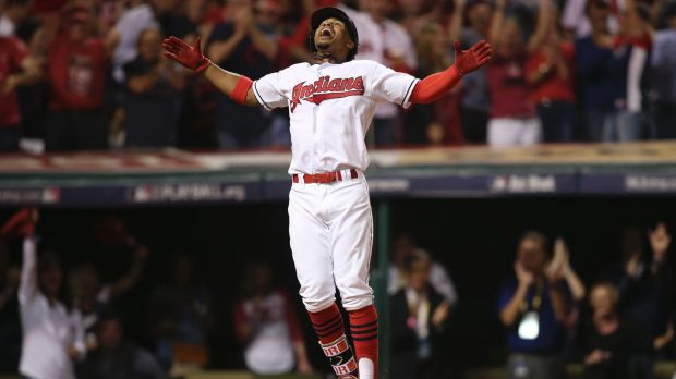 Power surge Cleveland's Francisco Lindor celebrates his solo home run in the third inning