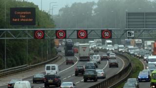 Cars on smart motorway