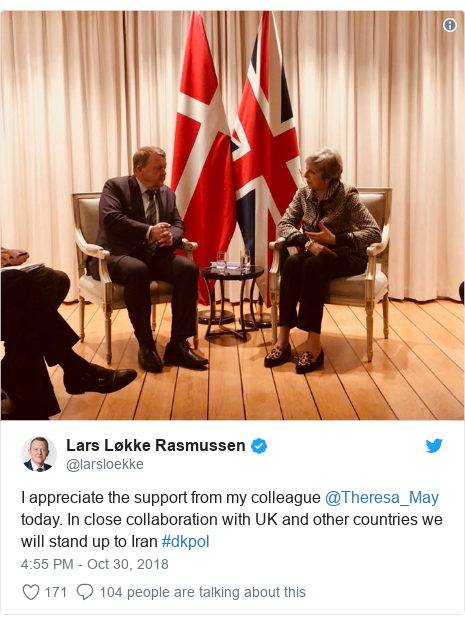 Twitter post by @larsloekke: I appreciate the support from my colleague @Theresa_May today. In close collaboration with UK and other countries we will stand up to Iran #dkpol