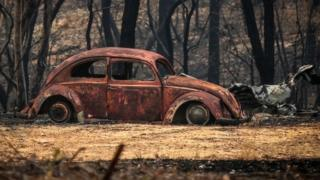The remains of a car that was destroyed by bushfires in Balmoral, New South Wales