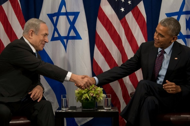 Prime Minister of Israel Benjamin Netanyahu speaks to U.S. President Barack Obama during a bilateral meeting in New York City