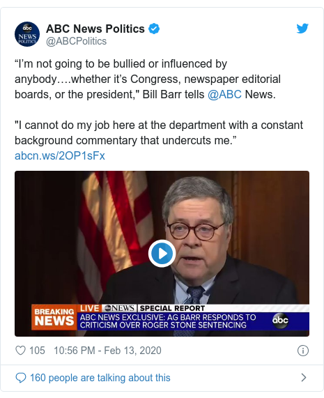 """Twitter post by @realDonaldTrump: """"The President has never asked me to do anything in a criminal case."""" A.G. Barr  This doesn't mean that I do not have, as President, the legal right to do so, I do, but I have so far chosen not to!"""