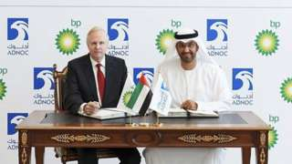 Sultan Ahmed Al Jaber, right, ADNOC Group Chief Executive Officer and Bob Dudley, BP Group Chief Executive