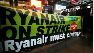 Ryanair strikers in Belgium