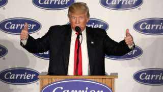 President-elect Donald Trump at Carrier HVAC plant in Indianpolis.