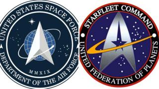 US Space Force logo on left and the Star Trek emblem on right